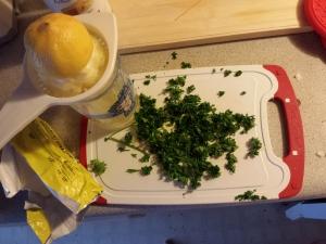 lemon and chopped parsley